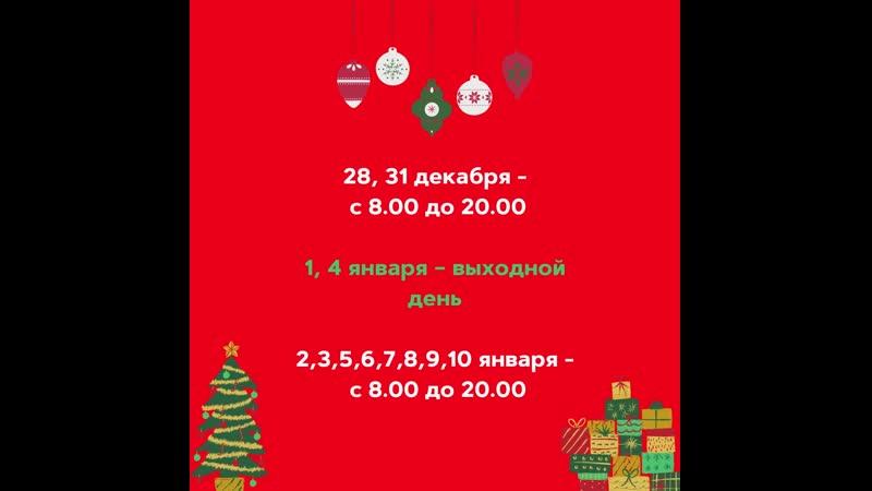 28 31 декабря с 8 00 до 20 00 1 4 января выходной день 2 3 5 6 7 9 10 января с 8 00 до 20 00