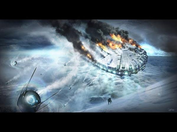 нло наносит удар по земле армадами кораблей нло движется на землю с войной космос звезды луна мир