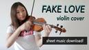 《Fake Love》- BTS (방탄소년단) FULL Violin Cover (w/Violin and Viola Sheet Music)