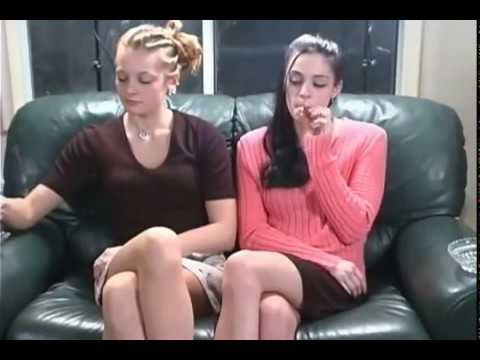 Chain smoker cute sisters smoke and drink home alone
