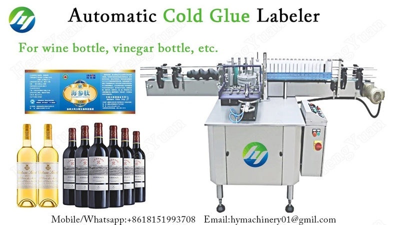 Wine Glass Bottle Cold Glue Labeler Round Container Paper Label Applicator