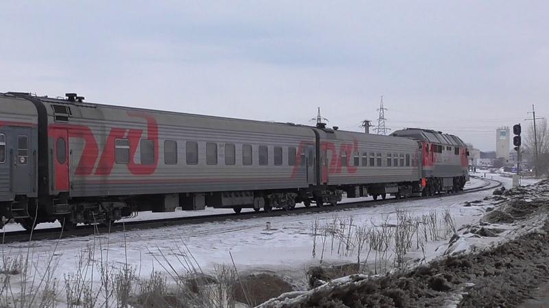 Магистральный тепловоз ТЭП70БС 291 во главе поезда №112Й 14 03 18