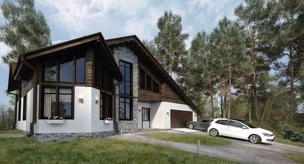 Эскиз проекта двухэтажного дома (источник: gofazenda)