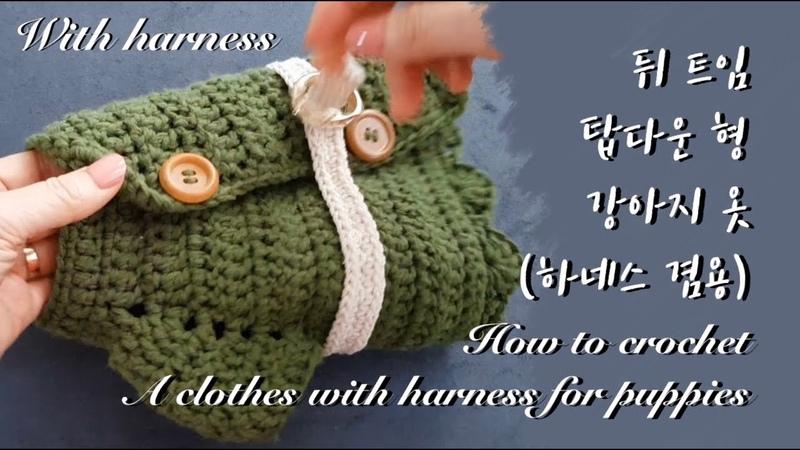 (코바늘 강아지 옷뜨기)탑다운 하네스 겸용 강아지옷(뒤트임) (ENG)How to crochet an open back clothes with harness