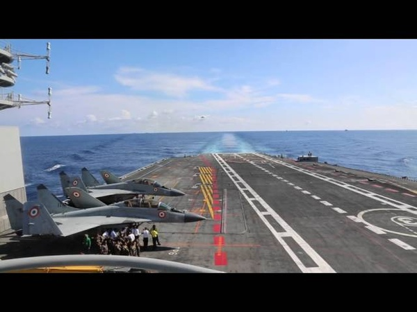 Mig 29K successfully trapped on Indian Navy's aircraft carrier INS Vikramaditya in the Arabian Sea