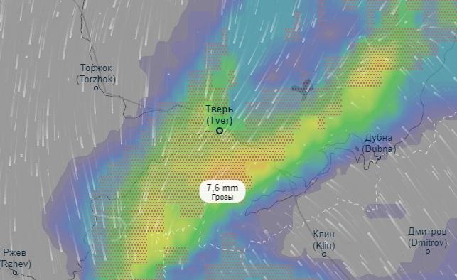 На Тверь надвигается мощный грозовой циклон