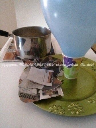 ВОЗДУШНЫЙ ШАР ИЗ ПАПЬЕ-МАШЕ Состав клея: 1 стакан муки, 1 стакан горячей воды, 1 ложка соли. Варить 10 минут.