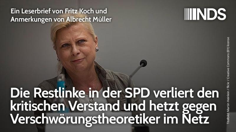 Die Restlinke in der SPD verliert kritischen Verstand hetzt gegen Verschwörungstheoretiker im Netz