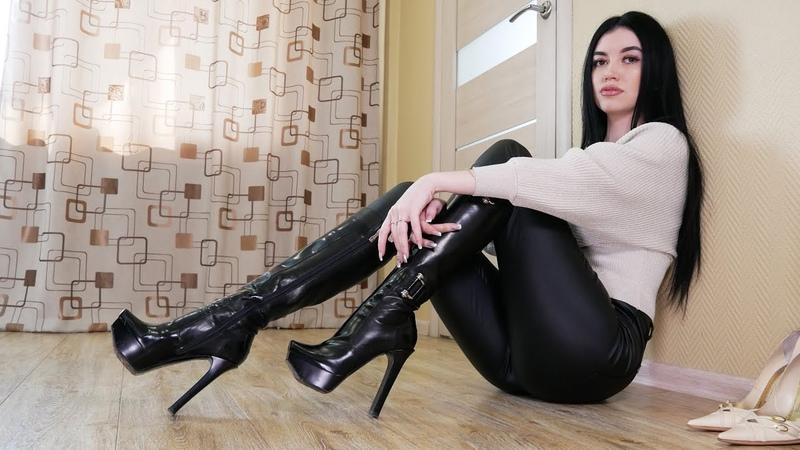 Nana's Gianmarco Lorenzi square toe platform high heels shiny leather boots Size EU 36 US 6 5