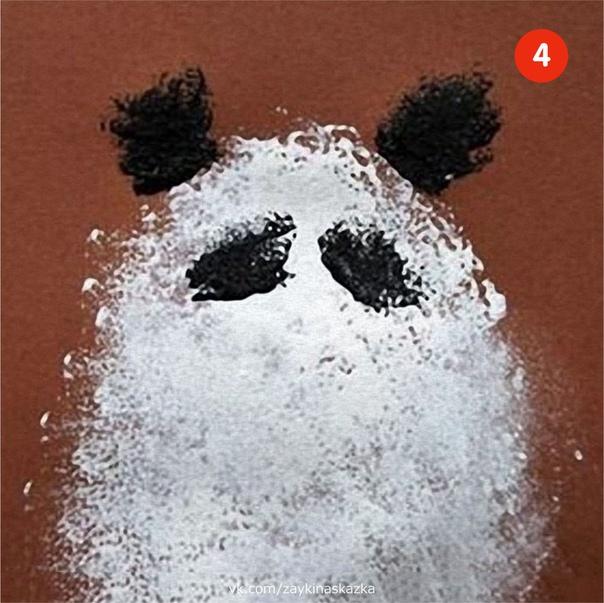 РИСУЕМ ГУБКОЙ Как нарисовать пандуПонадобятся:губкацветной картонгуашь или акриловая краска1. Губку разрежьте так, чтобы получилось несколько фигур: круг или овал, похожие по размеру