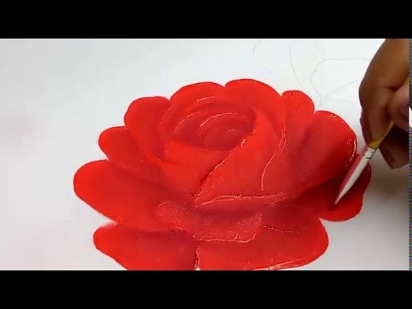 Pintura en tela como pintar una rosa roja