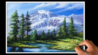 Mountain And Trees Painting | How To Paint Mountain and Trees Easy Painting Tutorial
