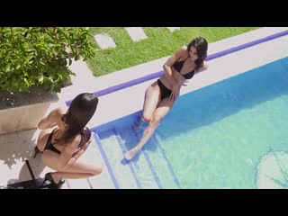 Apolonia Lapiedra  Rebecca Volpetti - Hot lesbians have sex on the pool table (1080p)