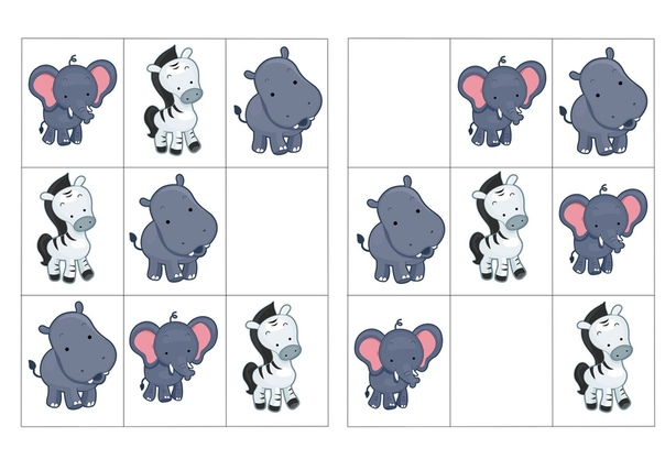 СУДОКУ ДЛЯ ДЕТЕЙ ОТ 3 ЛЕТ Правила игры заключаются в том, чтобы в любой строке, любом столбце и любом квадрате каждая фигура встречалась только один раз. Эта игра прекрасно развивает