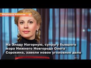 На Эладу Нагорную, супругу бывшего мэра Нижнего Новгорода Олега Сорокина, завели новое уголовное дело