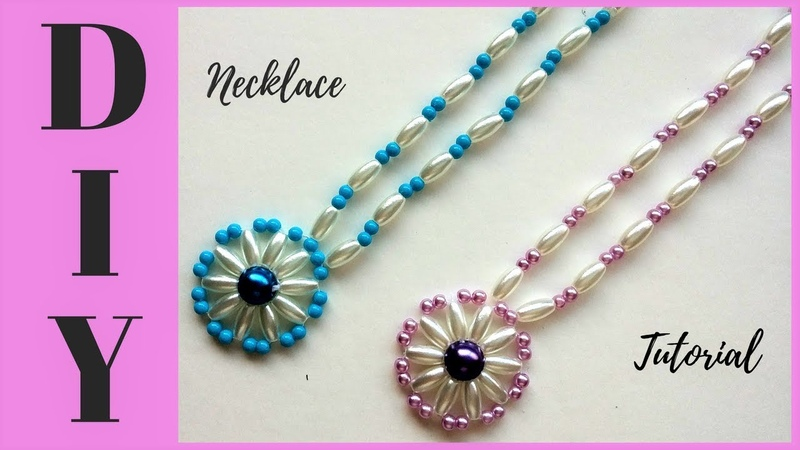 10 minutes DIY necklace. How to make beaded necklace with pendant . Jewelry making tutorial.