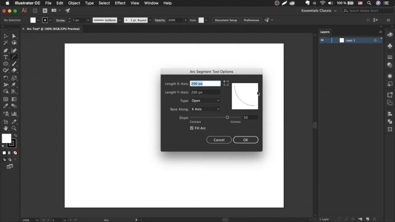 Как сделать дугу в иллюстраторе - Arc Tool _ Урок Adobe Illustrator