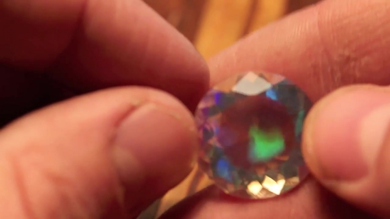 19ct Rare 21mm Round Faceted Water Clear Welo Ethiopia Crystal Opal
