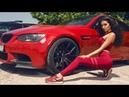 Позирование модели Voyage Models возле машины BMW