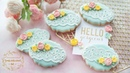 How to make EYELET LACE COOKIES with 2 different type of piped royal icing roses