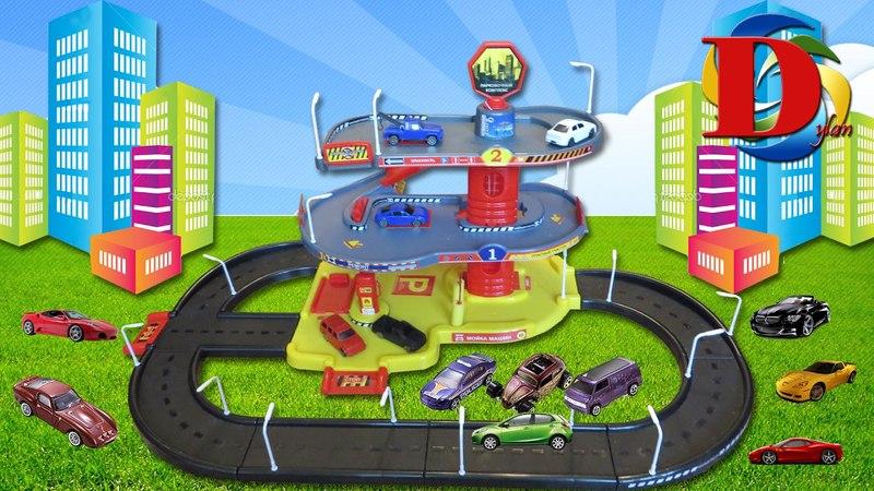 Машинки Хотвилс и Трек с паркингом заправкой и мойкой - Parking Garage Services Playset for Kids