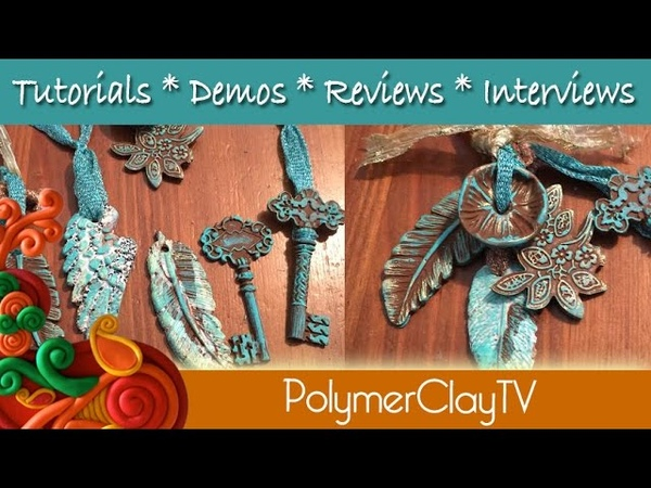 Polymer Clay Faux Patina Vintage Keys and Feathers Necklace