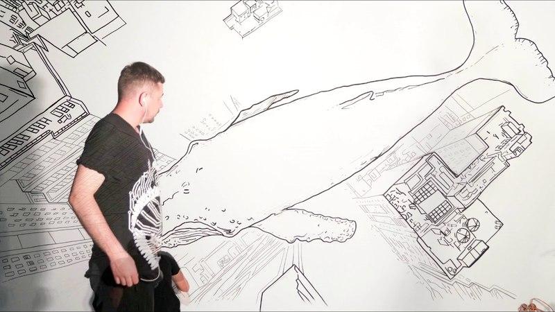 Рисунок маркерами на стене | Drawing markers on the wall