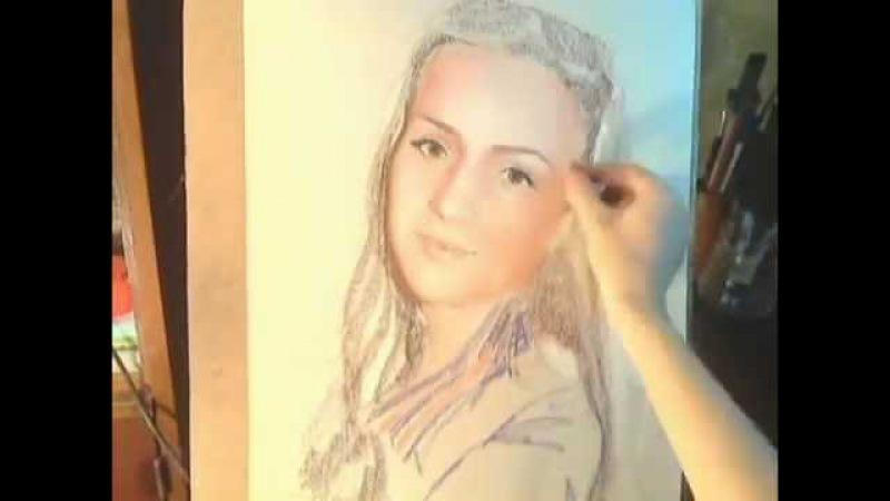 Портрет пастелью. Portrait in soft pastel. Viki-ART