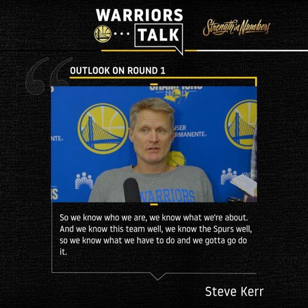 "Golden State Warriors on Instagram: ""Coach Kerr on the Dubs' Round 1 matchup with the Spurs."""