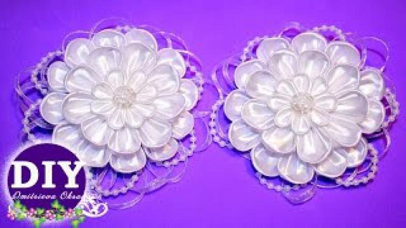 DIY. Elegant bows.Kanzashi tutorial.Flower scrunchy.The Flower from the satin ribbon.