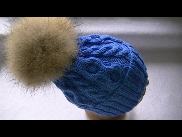 Вязание шапки узором соты и коса с 6 петель
