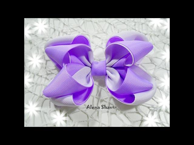 Бантик из репсовой ленты 2,5 см МК Канзаши/ Grosgrain ribbon hair bow