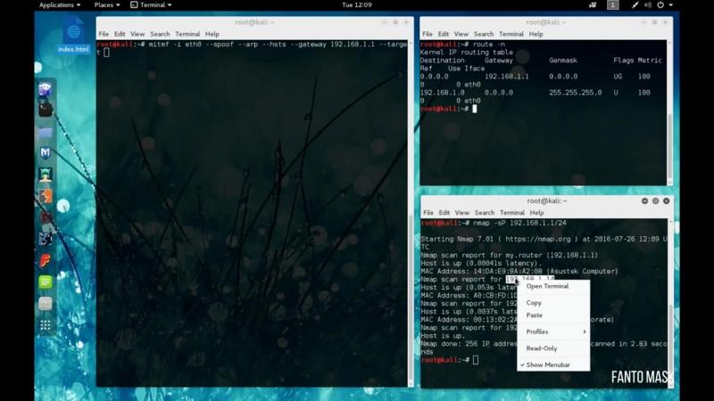Kali Linux 2.0 Инжект в HTML (MITMf Inject) в Wi Fi сетях