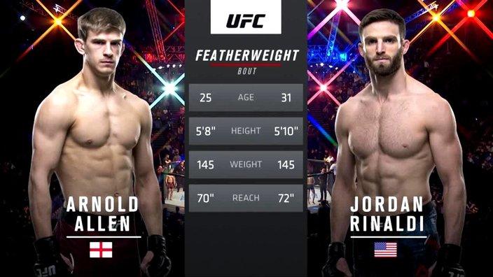 UFC Fight Night 147 1 сезон Арнольд Аллен VS Джордан Ринальди