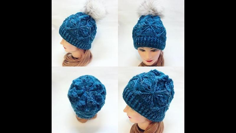 Шапка крючком с простым интересным двухслойным узором.Crochet cap
