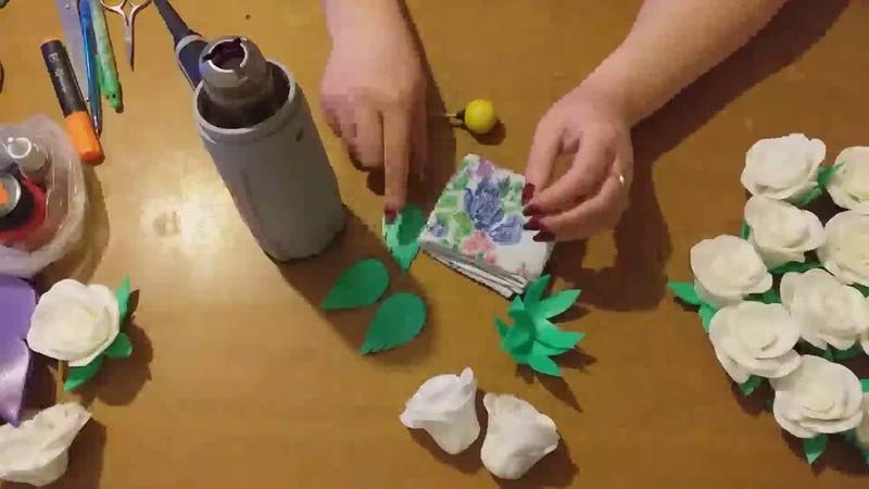 Бесплатный МК светильника Букет белых Роз от Надежды Щёголевой