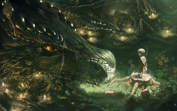 Перед входом в пещеру, на ярком полуденном солнышке, развалился дракон Он только что плотно поел, поэтому сил хватало только на то, чтобы лениво ковырять в клыках копьём. Ящер был красивый.