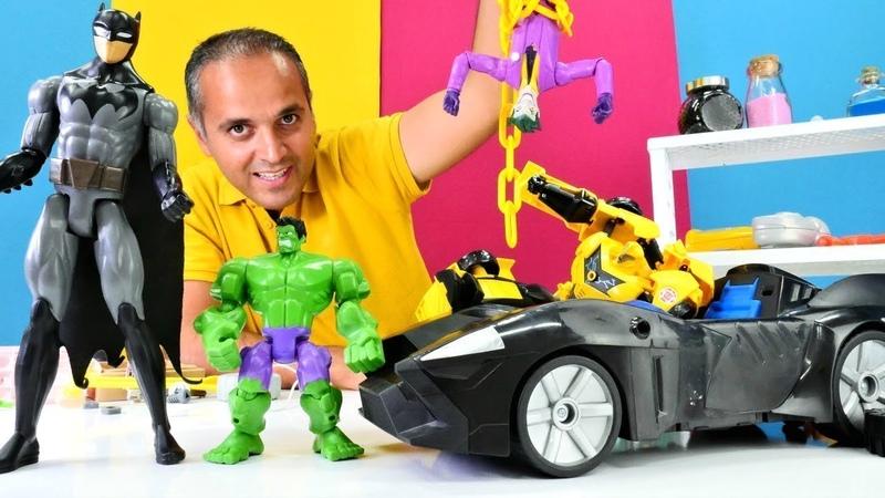 Batman ve Batmobile oyun derlemesi. Joker, Spiderman ve Hulk hepsi bir arada