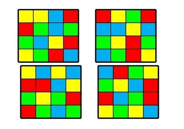 ЦВЕТОВЫЕ СХЕМЫ ДЛЯ РАЗВИТИЯ МЫШЛЕНИЯ Это игровое пособие имеет разный уровень сложности. На самом деле, задание в игре довольно простое: собрать на пустой сетке цветные квадраты именно так, как