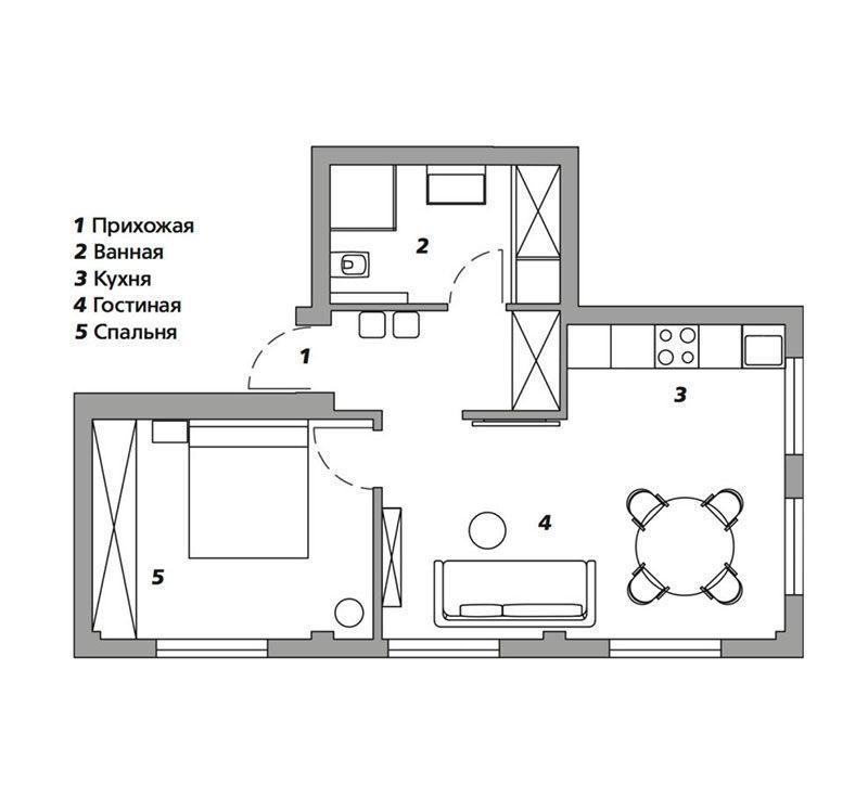 Стильный интерьер квартиры для мамы в Москве (43 кв.