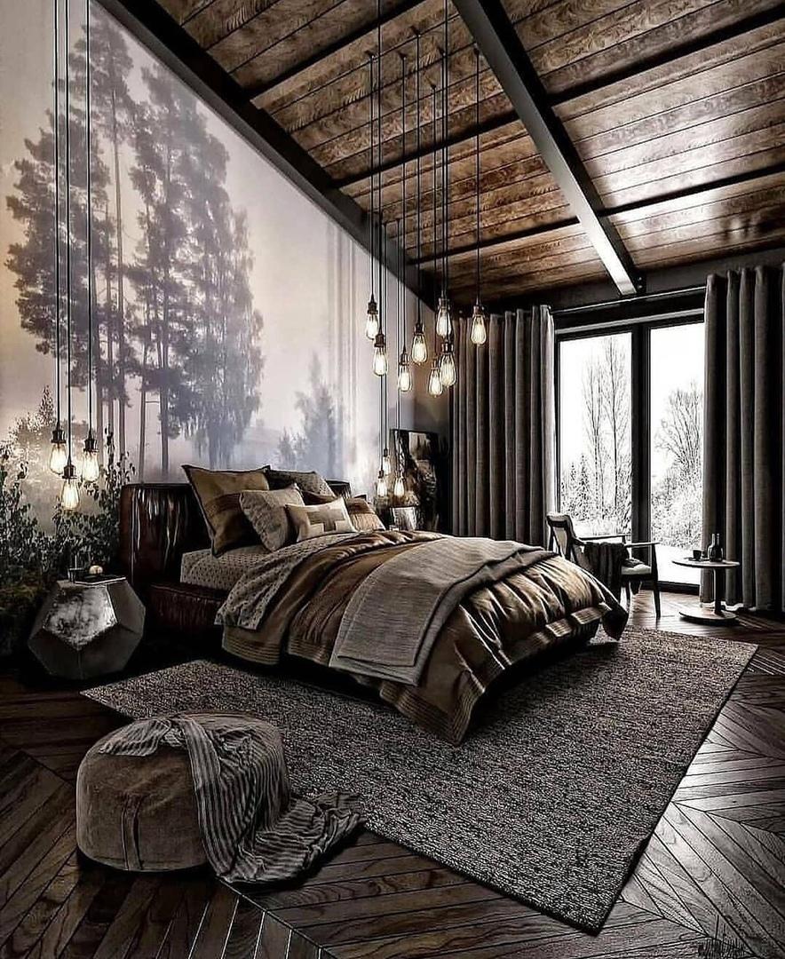 В загородном доме великолепная спальня. Как вам такая?