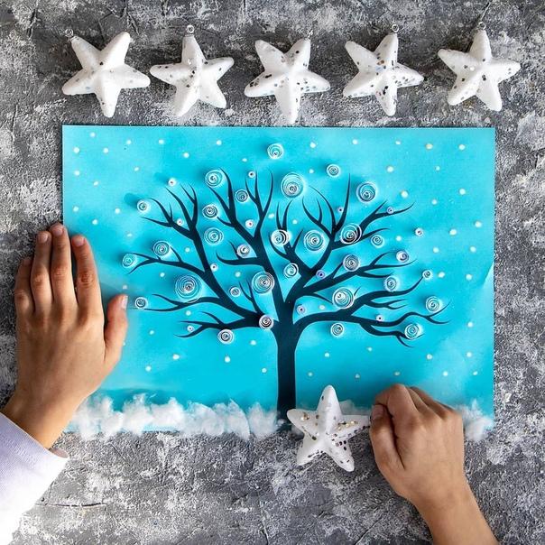 ЗИМНИЕ ПОДЕЛКИ С ДЕТЬМИ. Аппликация на зимнюю тему в технике квиллинг. Квиллинг, также известен как бумагокручение - искусство изготовления плоских или объёмных композиций из скрученных в