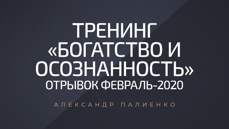Тренинг Богатство и осознанность отрывок Февраль 2020 Александр Палиенко