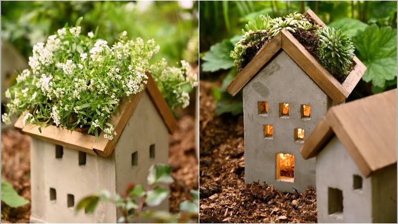DIY летний декор из бетона и дерева Декоративные кашпо и фонарики своими руками