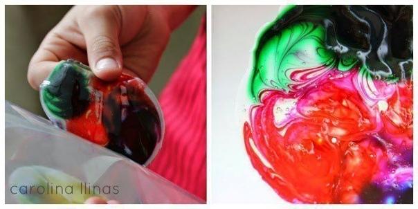РИСОВАНИЕ НА КЛЕЮ Понадобятся: - виниловый белый или прозрачный клей ПВА- акриловые краски или пищевые красители- несколько зубочисток Налейте лужицу клея тонким слоем на стеклянную поверхность.