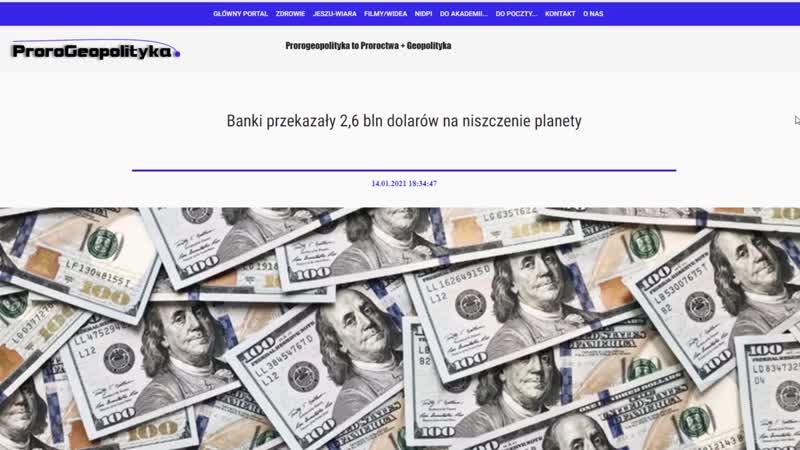 16 01 2021 Banki przekazały 2 6 bln dolarów na niszczenie planety