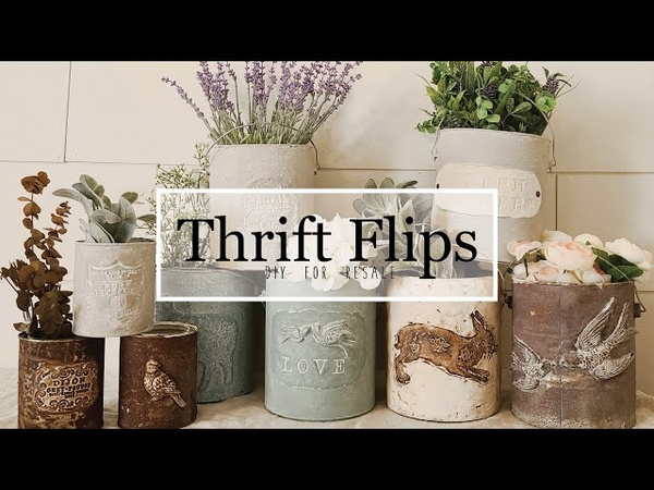 Thrift Flips • Painting Techniques • Faux Cement Finish • Clay • Stamps • Molds • Paint Cans