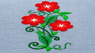 Cute Hand Embroidery Red flowers with green leaves,Premium Embroidery pattern-117, #Miss_A