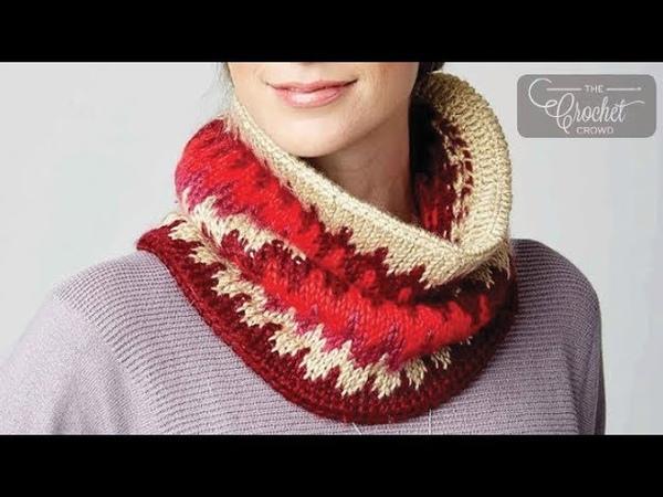 How to Tunisian Crochet A Cowl Fair Isle Cowl