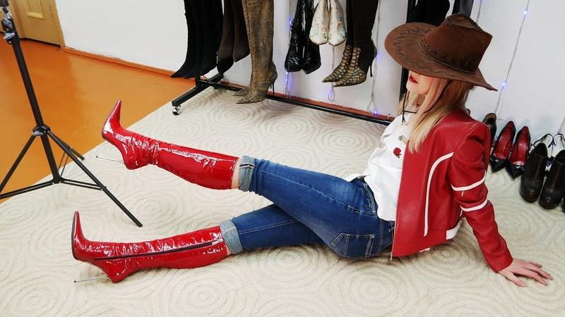 Anastasia's Gianmarco Lorenzi pointed toe chromed steel stiletto heels red patent leather boots Sz39